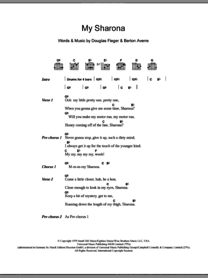 My Sharona sheet music for guitar (chords) by The Knack, Berton Averre and Doug Fieger, intermediate skill level
