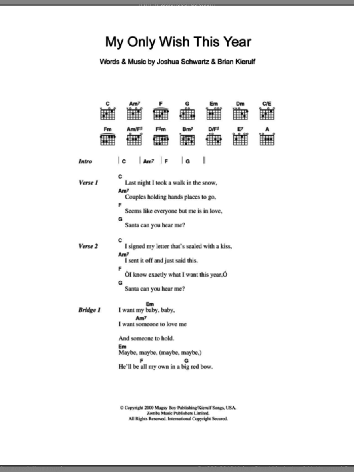 My Only Wish This Year sheet music for guitar (chords) by Britney Spears, Brian Kierulf and Joshua Schwartz, intermediate skill level