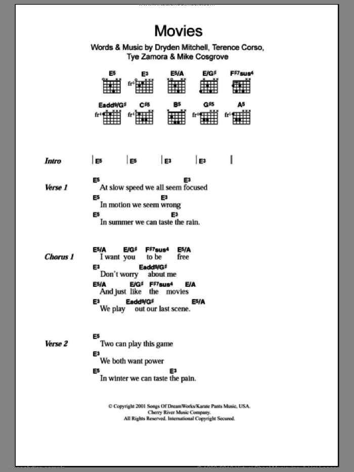 Movies sheet music for guitar (chords) by Alien Ant Farm, Dryden Mitchell, Mike Cosgrove, Terence Corso and Tye Zamora, intermediate