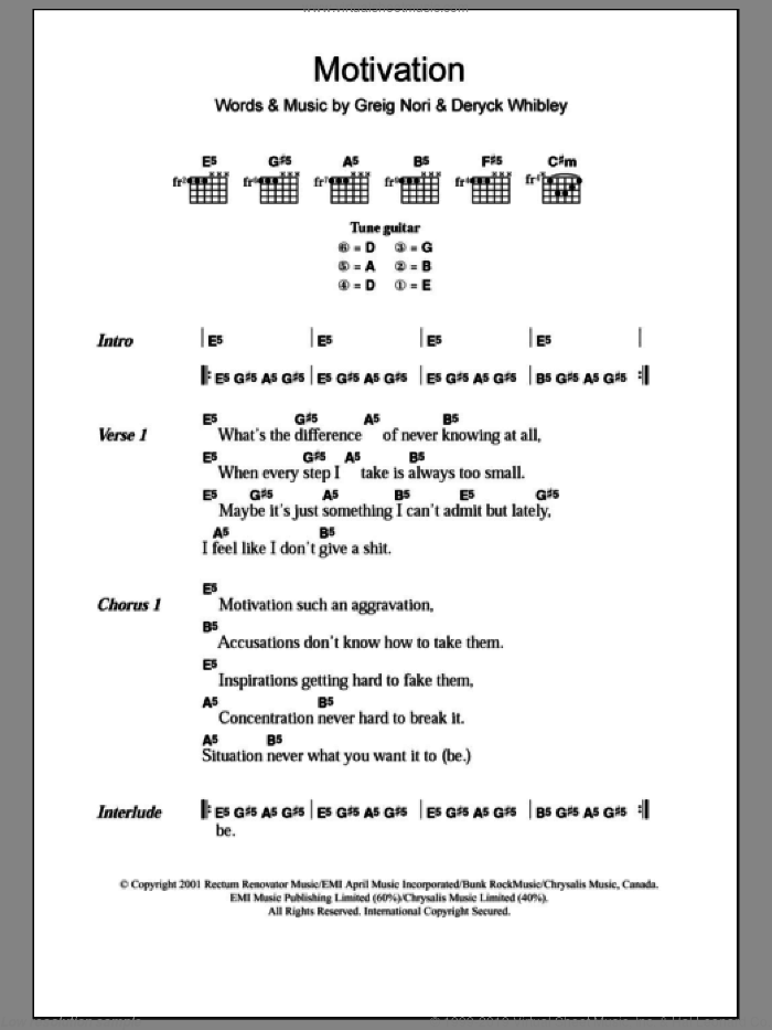 Motivation sheet music for guitar (chords) by Greig Nori, Sum 41 and Deryck Whibley. Score Image Preview.