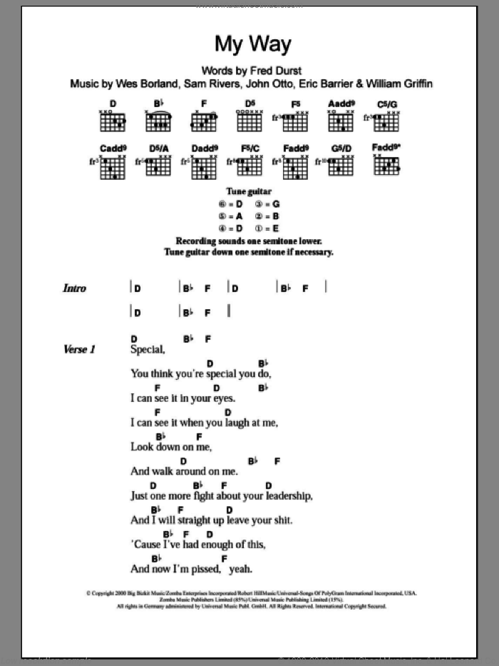 My Way sheet music for guitar (chords) by Limp Bizkit. Score Image Preview.