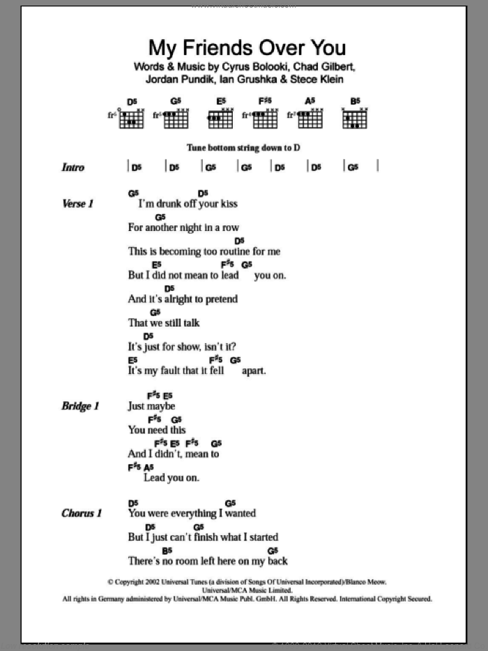 My Friends Over You sheet music for guitar (chords) by New Found Glory, Chad Gilbert, Cyrus Bolooki, Ian Grushka, Jordan Pundik and Stece Klein, intermediate skill level