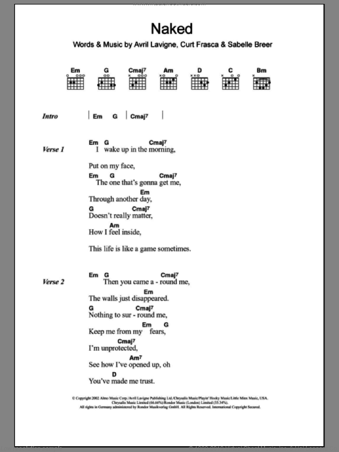 Naked sheet music for guitar (chords) by Sabelle Breer and Avril Lavigne. Score Image Preview.