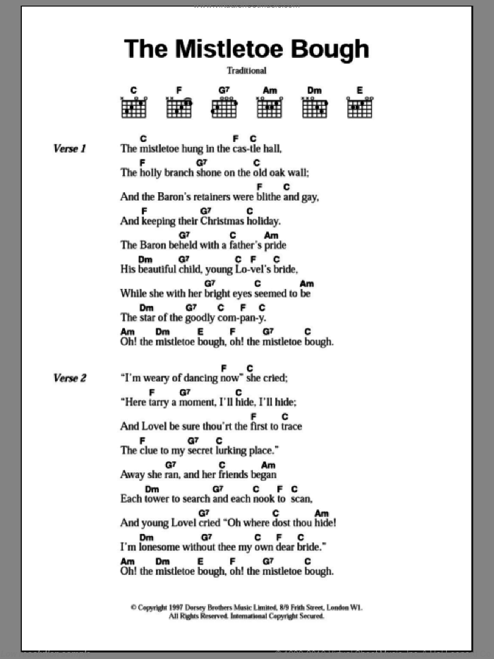 The Mistletoe Bough sheet music for guitar (chords) [PDF]
