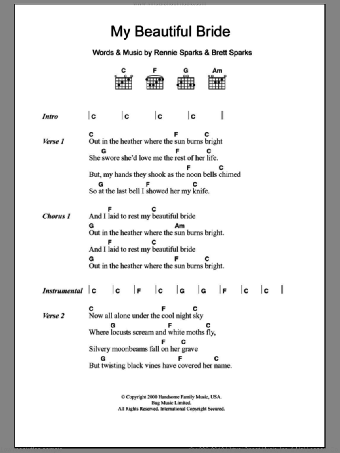 My Beautiful Bride sheet music for guitar (chords) by The Handsome Family, Brett Sparks and Rennie Sparks, intermediate skill level