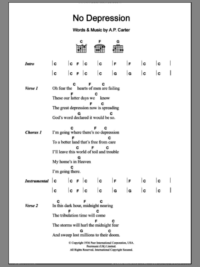 No Depression sheet music for guitar (chords) by A.P. Carter. Score Image Preview.