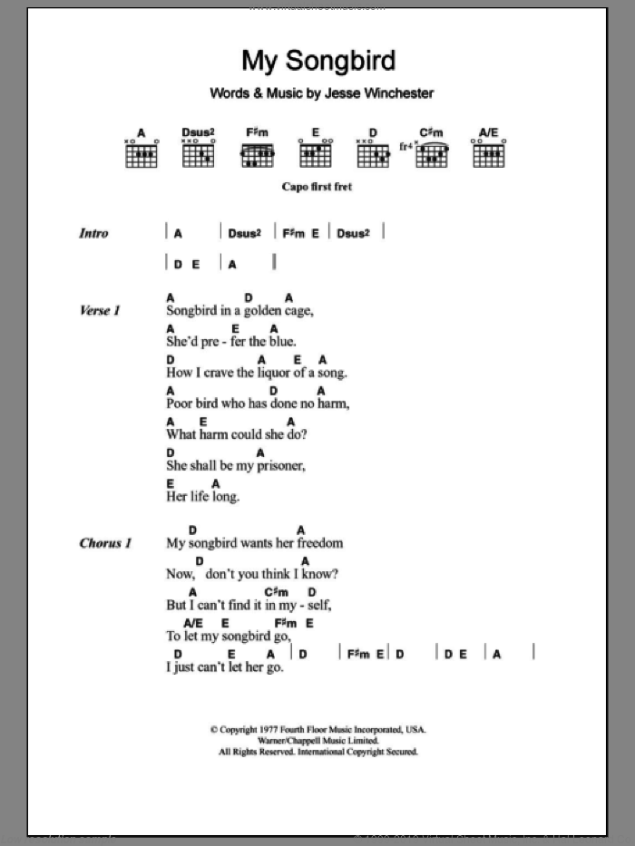 My Songbird sheet music for guitar (chords) by Emmylou Harris