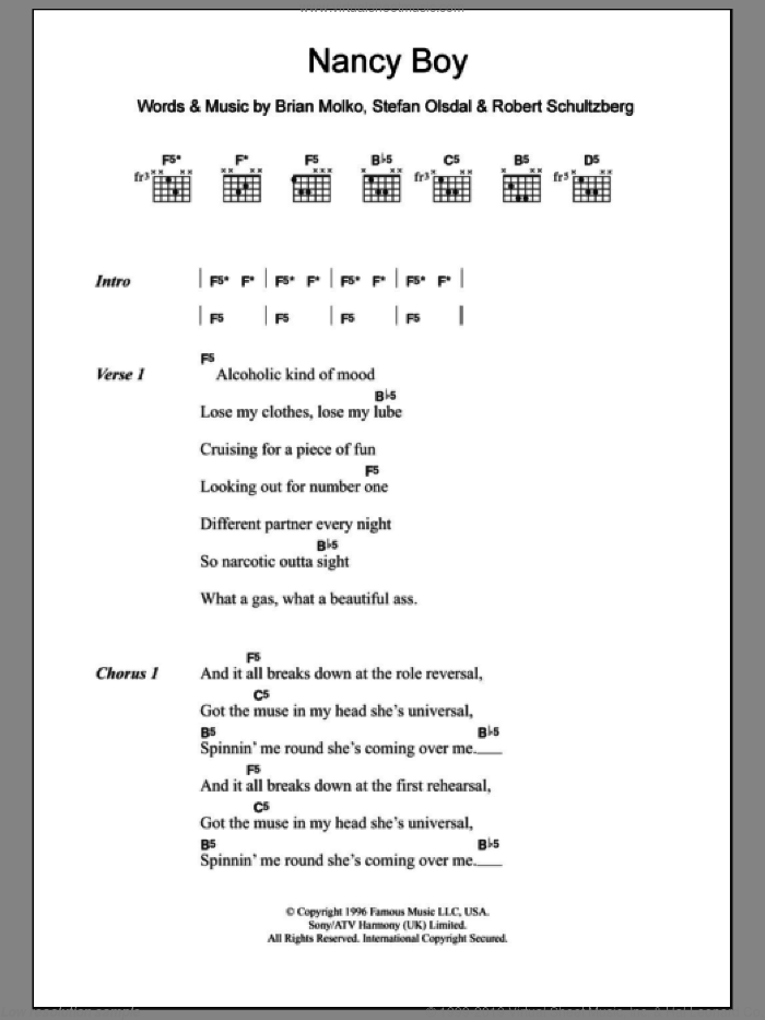 Nancy Boy sheet music for guitar (chords) by Placebo, intermediate. Score Image Preview.
