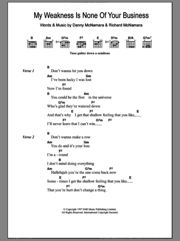 My Weakness Is None Of Your Business sheet music for guitar (chords) by Embrace, Danny McNamara and Richard McNamara, intermediate