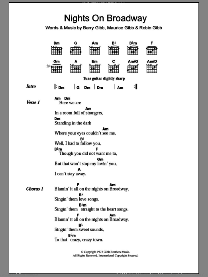 Nights On Broadway sheet music for guitar (chords) by Bee Gees, Barry Gibb, Maurice Gibb and Robin Gibb, intermediate skill level