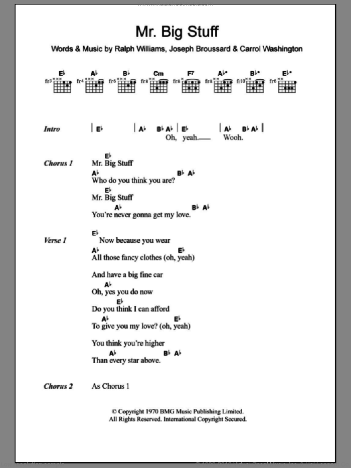 Mr. Big Stuff sheet music for guitar (chords, lyrics, melody) by Ralph Vaughan Williams