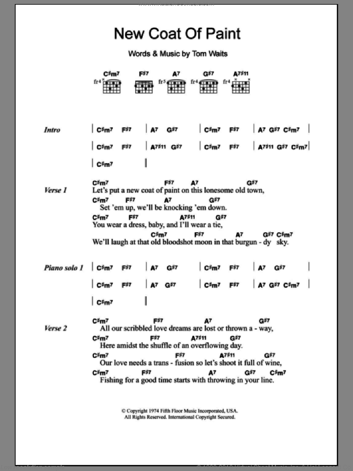 Waits - New Coat Of Paint sheet music for guitar (chords) [PDF]
