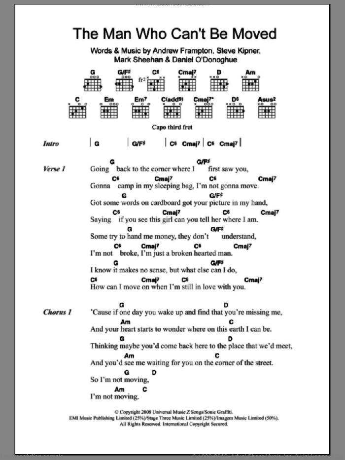 The Man Who Can't Be Moved sheet music for guitar (chords) by The Script, Andrew Frampton, Mark Sheehan and Steve Kipner, intermediate skill level