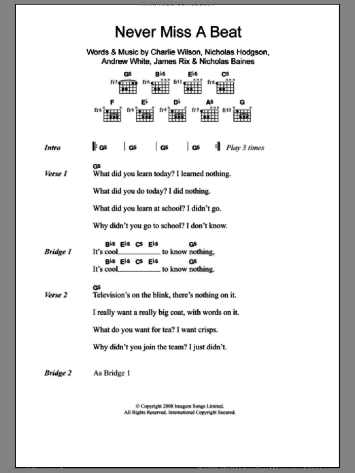 Never Miss A Beat sheet music for guitar (chords) by Nicholas Hodgson, Andrew White and Charlie Wilson. Score Image Preview.