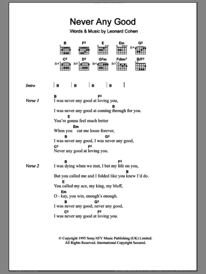 Never Any Good sheet music for guitar (chords) by Leonard Cohen, intermediate guitar (chords). Score Image Preview.