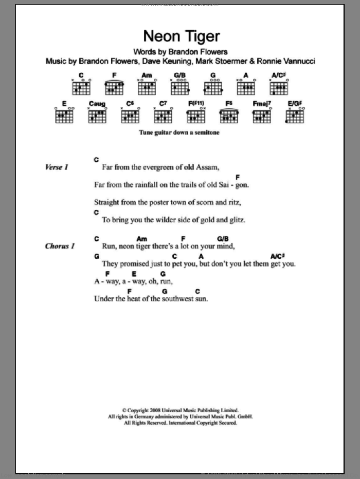 Neon Tiger sheet music for guitar (chords) by The Killers, Brandon Flowers, Dave Keuning, Mark Stoermer and Ronnie Vannucci, intermediate skill level