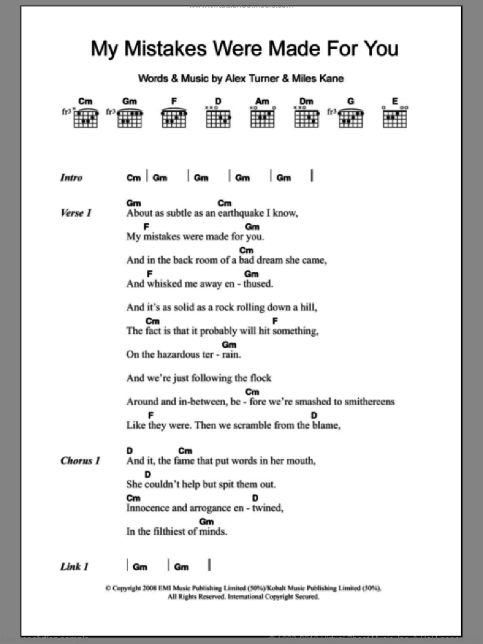 My Mistakes Were Made For You sheet music for guitar (chords) by The Last Shadow Puppets and Miles Kane, intermediate guitar (chords). Score Image Preview.