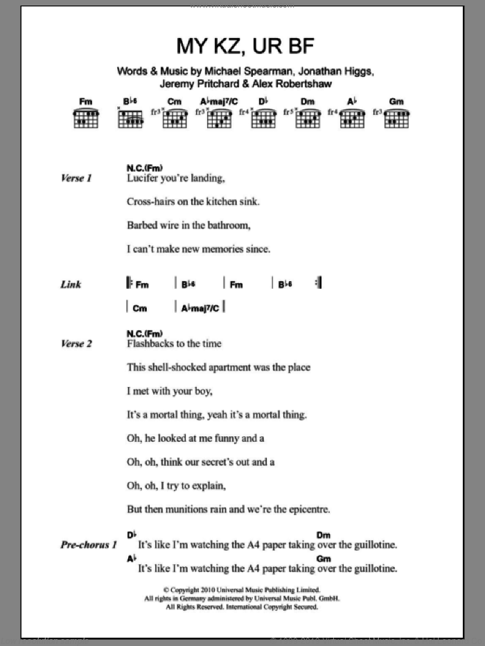 MY KZ, UR BF sheet music for guitar (chords) by Everything Everything, Alex Robertshaw, Jeremy Pritchard, Jonathan Higgs and Michael Spearman, intermediate. Score Image Preview.