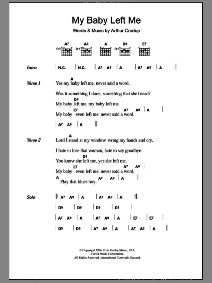 My Baby Left Me sheet music for guitar (chords) by Arthur Crudup and Elvis Presley