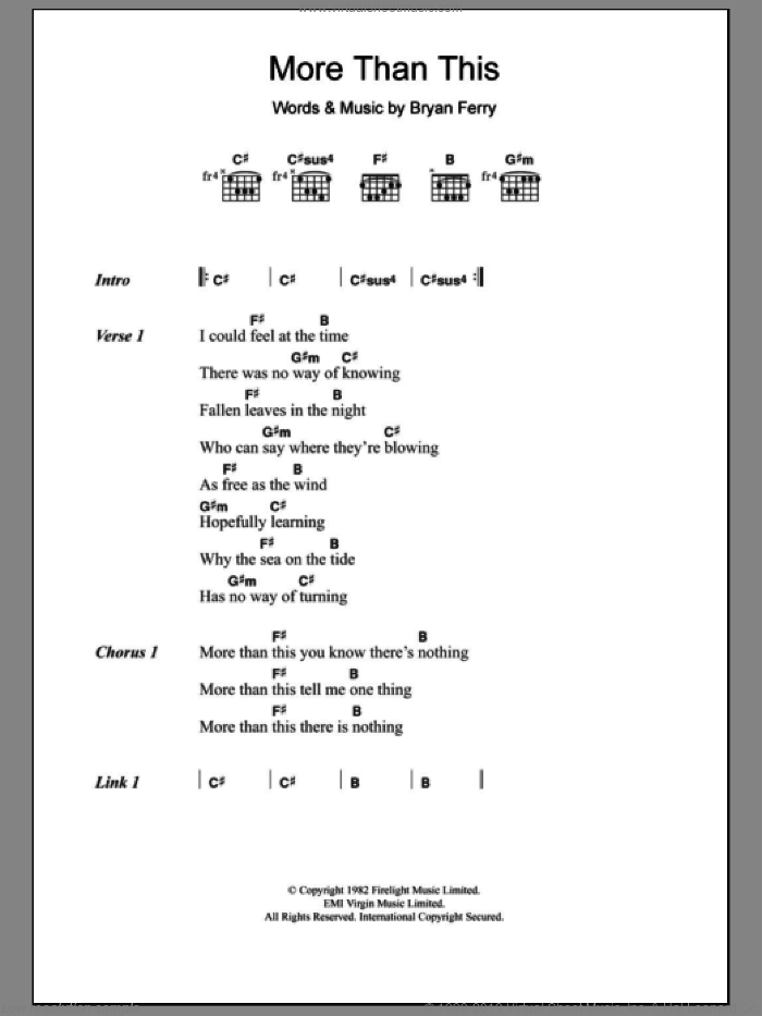 More Than This sheet music for guitar (chords) by Bryan Ferry and Roxy Music