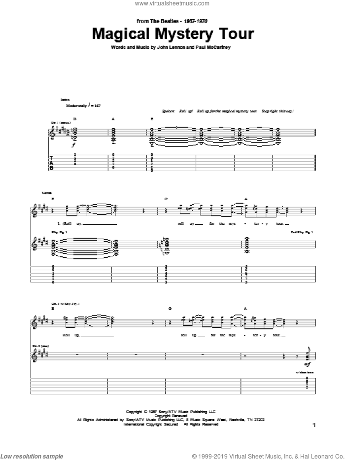 Magical Mystery Tour sheet music for guitar (tablature) by Paul McCartney, The Beatles and John Lennon. Score Image Preview.