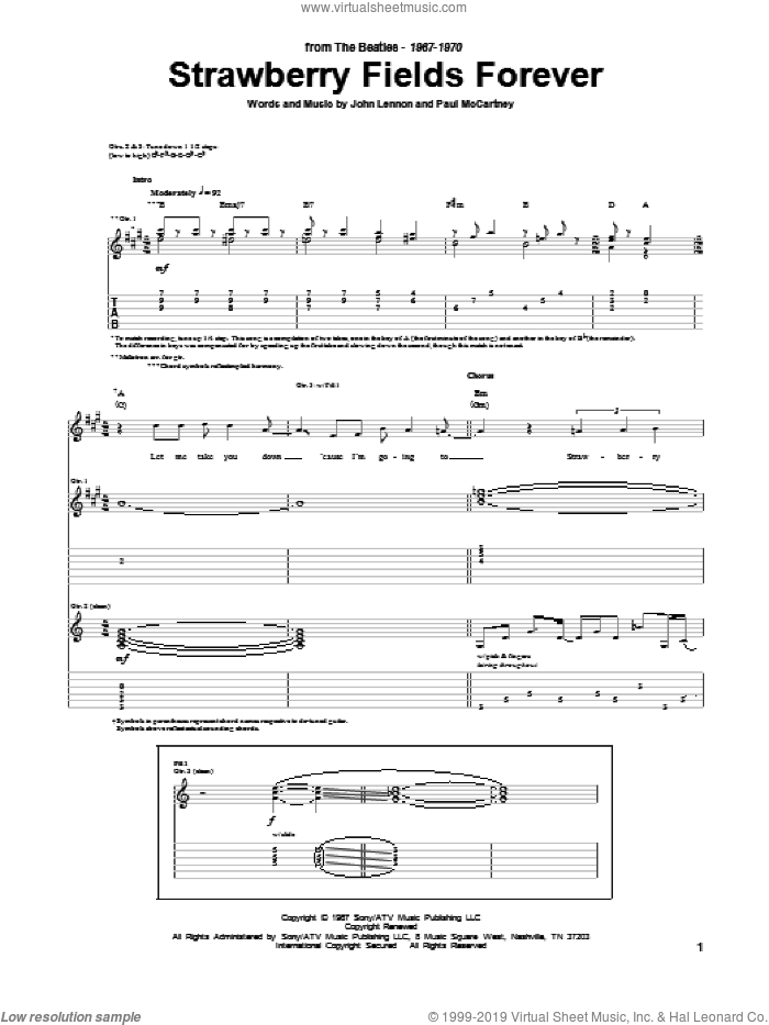 Beatles Strawberry Fields Forever Sheet Music For Guitar Tablature