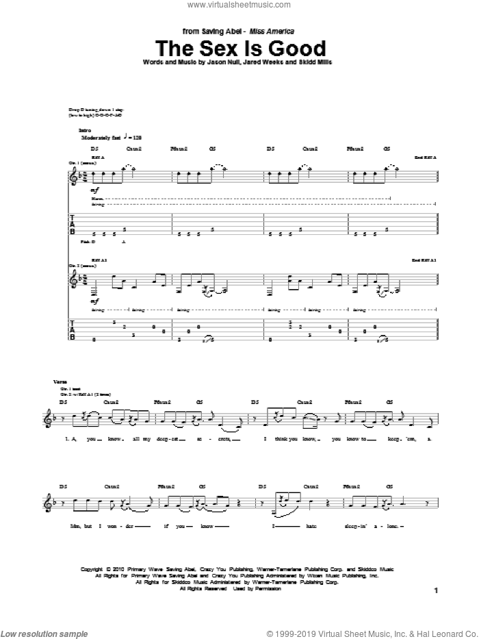 The Sex Is Good sheet music for guitar (tablature) by Saving Abel. Score Image Preview.