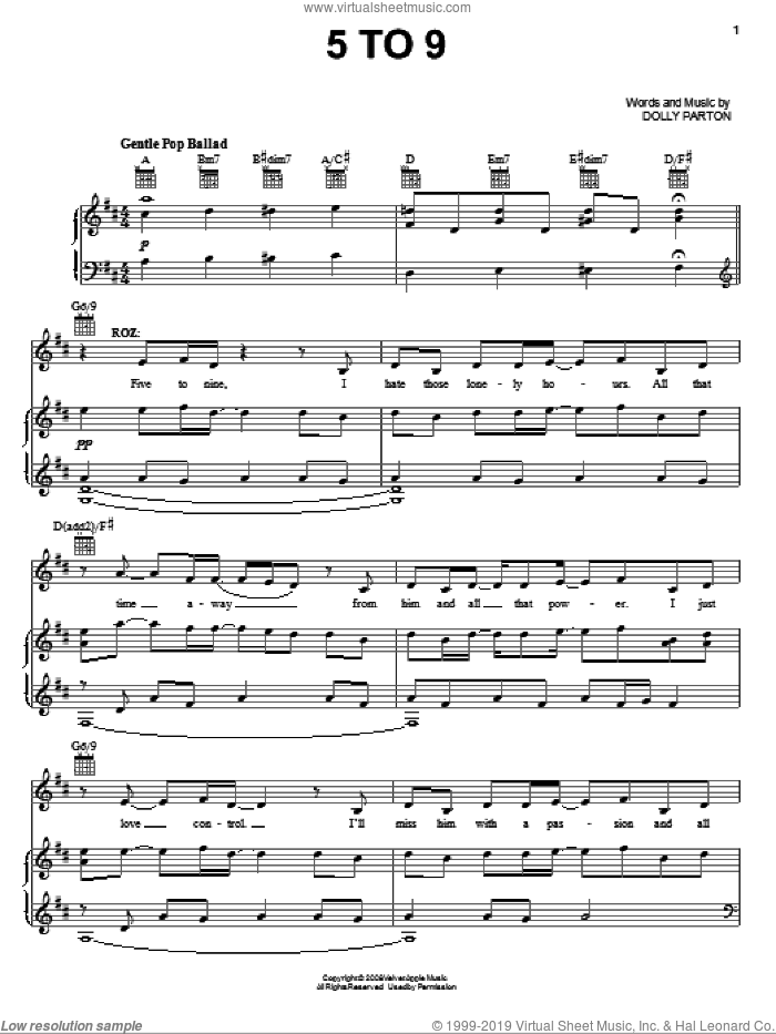 5 To 9 (from 9 to 5: The Musical) sheet music for voice, piano or guitar by Dolly Parton and 9 To 5 (Musical), intermediate skill level