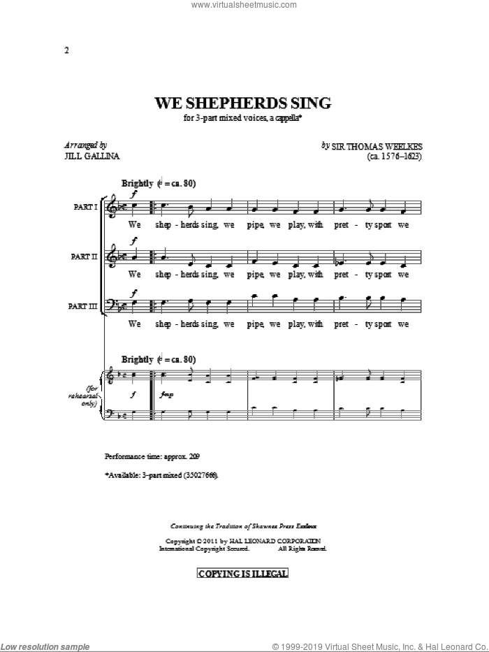 We Shepherds Sing sheet music for choir (3-Part Mixed) by Thomas Weelkes and Jill Gallina, intermediate skill level