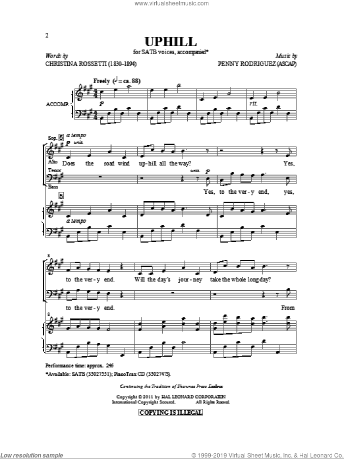 Uphill sheet music for choir (SATB) by Christina Rossetti and Penny Rodriguez. Score Image Preview.