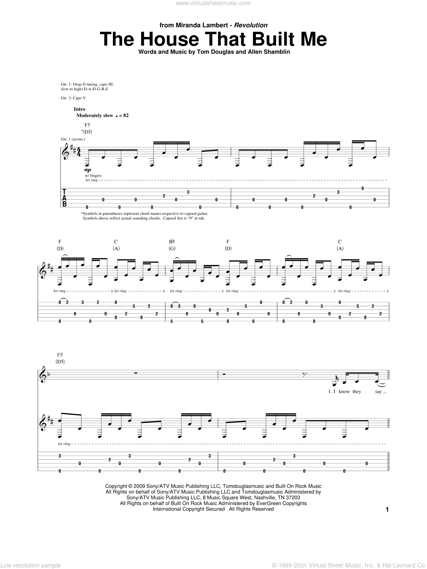 The House That Built Me sheet music for guitar (tablature) by Tom Douglas, Miranda Lambert and Allen Shamblin. Score Image Preview.