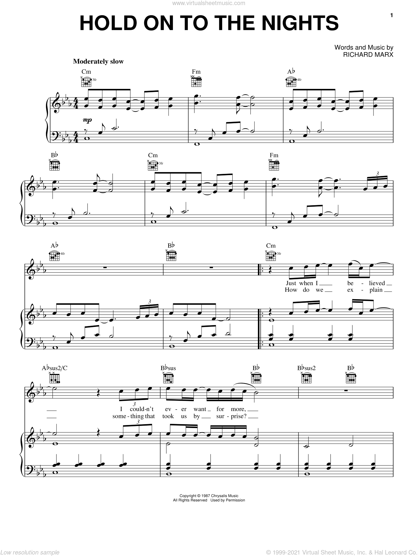 Hold On To The Nights sheet music for voice, piano or guitar by Richard Marx