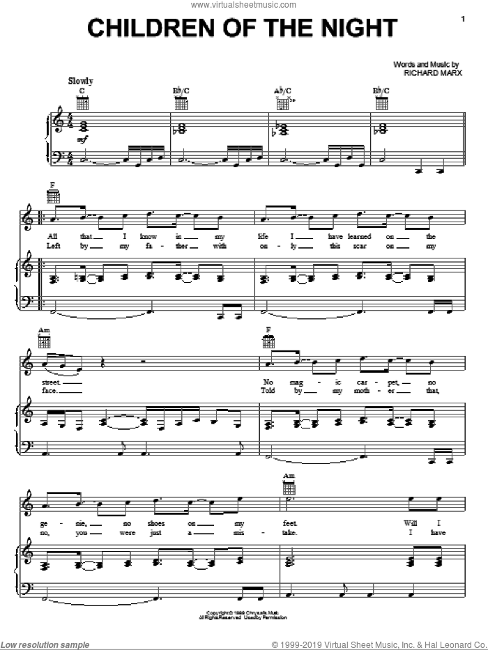 Children Of The Night sheet music for voice, piano or guitar by Richard Marx. Score Image Preview.