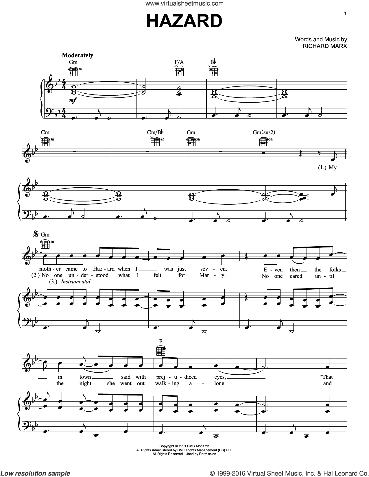 Hazard sheet music for voice, piano or guitar by Richard Marx, intermediate skill level