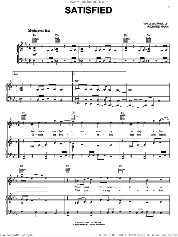 Satisfied sheet music for voice, piano or guitar by Richard Marx. Score Image Preview.