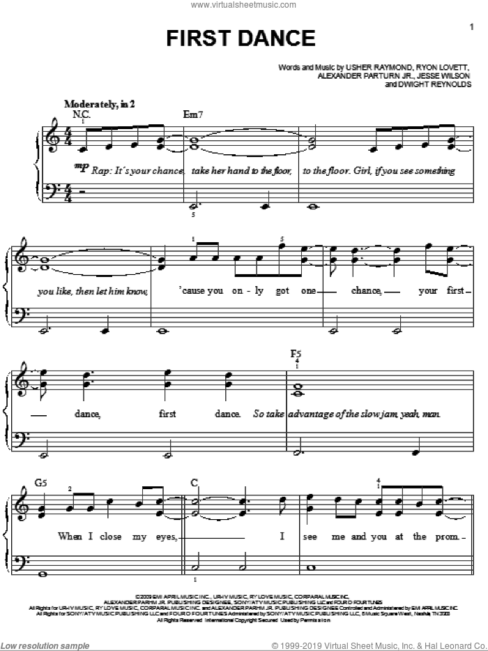 First Dance sheet music for piano solo (chords) by Usher Raymond