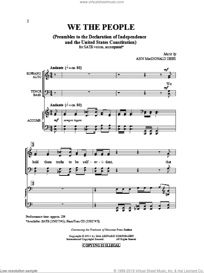 We The People sheet music for choir and piano (SATB) by Ann MacDonald Diers