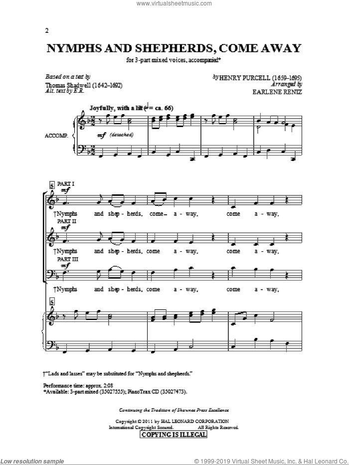 Nymphs And Shepherds, Come Away sheet music for choir and piano (chamber ensemble) by Henry Purcell and Earlene Rentz. Score Image Preview.