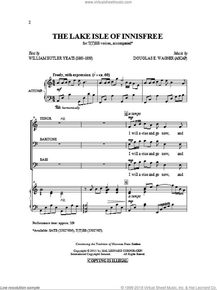 The Lake Isle Of Innisfree sheet music for choir and piano (TTBB) by Douglas E. Wagner and William Butler Yeats. Score Image Preview.