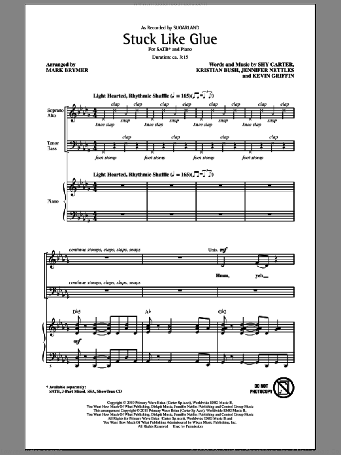 Stuck Like Glue sheet music for choir and piano (SATB) by Jennifer Nettles, Kevin Griffin, Kristian Bush, Mark Brymer, Shy Carter and Sugarland. Score Image Preview.