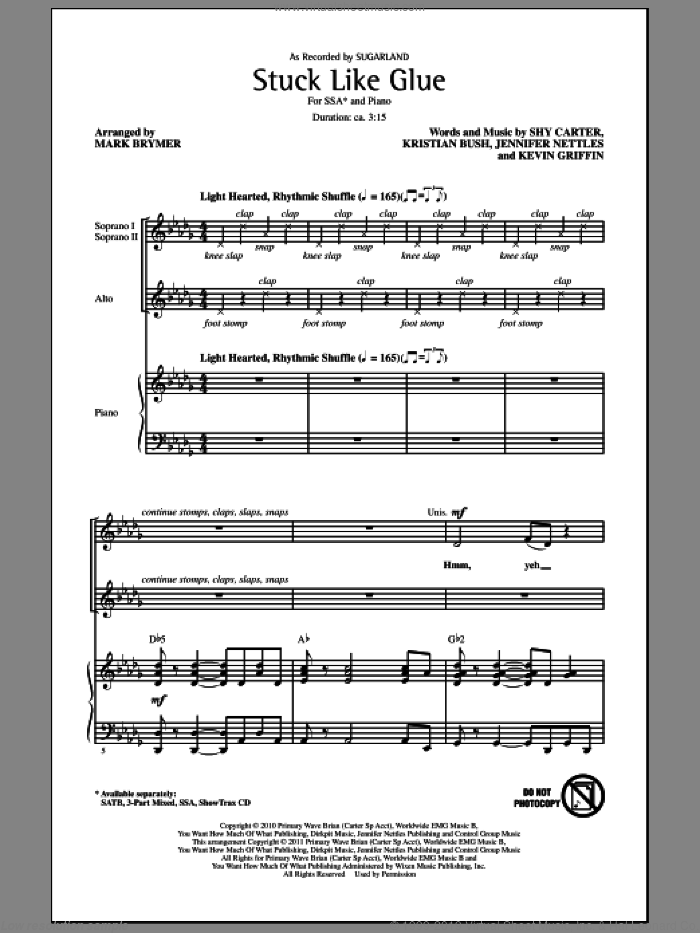 Stuck Like Glue sheet music for choir (soprano voice, alto voice, choir) by Jennifer Nettles, Kevin Griffin, Kristian Bush, Mark Brymer, Shy Carter and Sugarland. Score Image Preview.