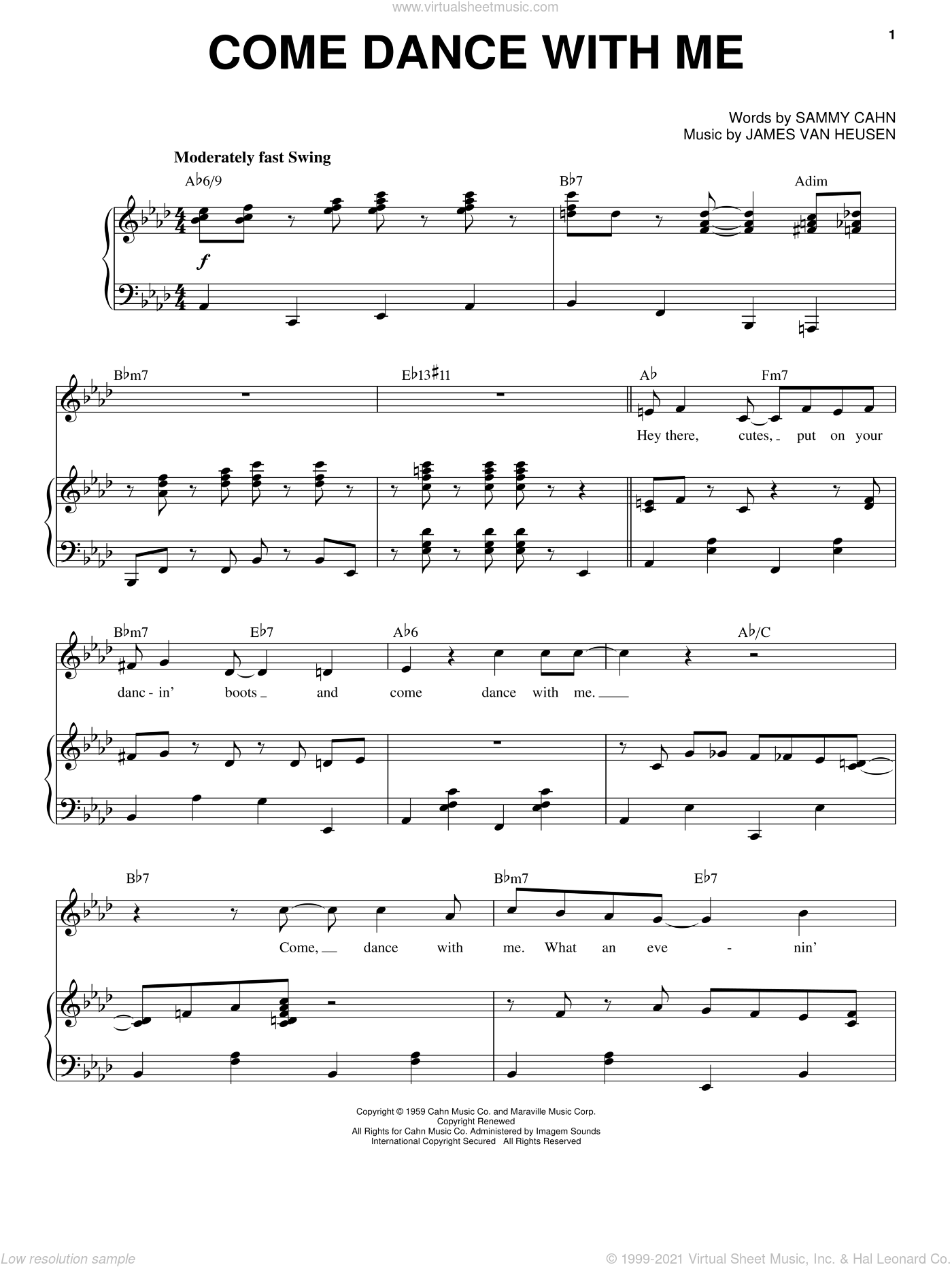 Come Dance With Me sheet music for voice and piano by Frank Sinatra, Jimmy van Heusen and Sammy Cahn, intermediate. Score Image Preview.