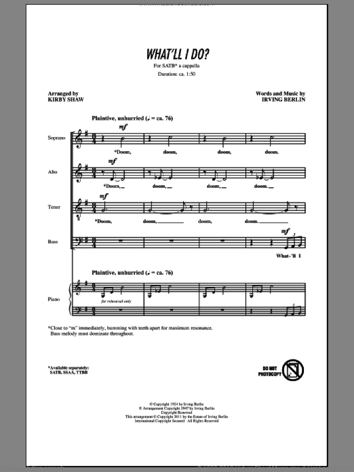 What'll I Do sheet music for choir (SATB: soprano, alto, tenor, bass) by Irving Berlin and Kirby Shaw, intermediate skill level