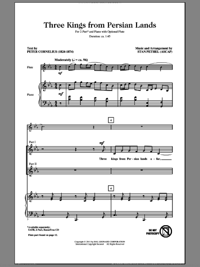 Three Kings From Persian Lands sheet music for choir (2-Part) by Stan Pethel and Peter Cornelius, intermediate duet