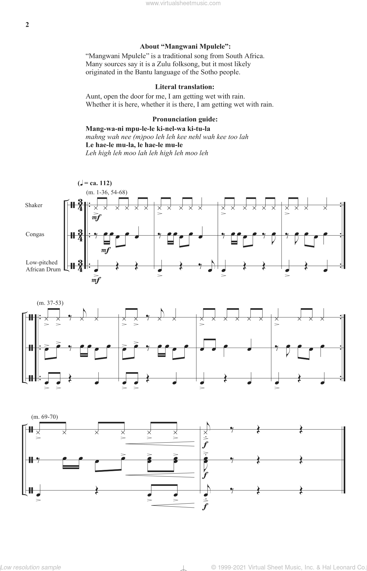 Mangwani Mpulele sheet music for choir and piano (duets)