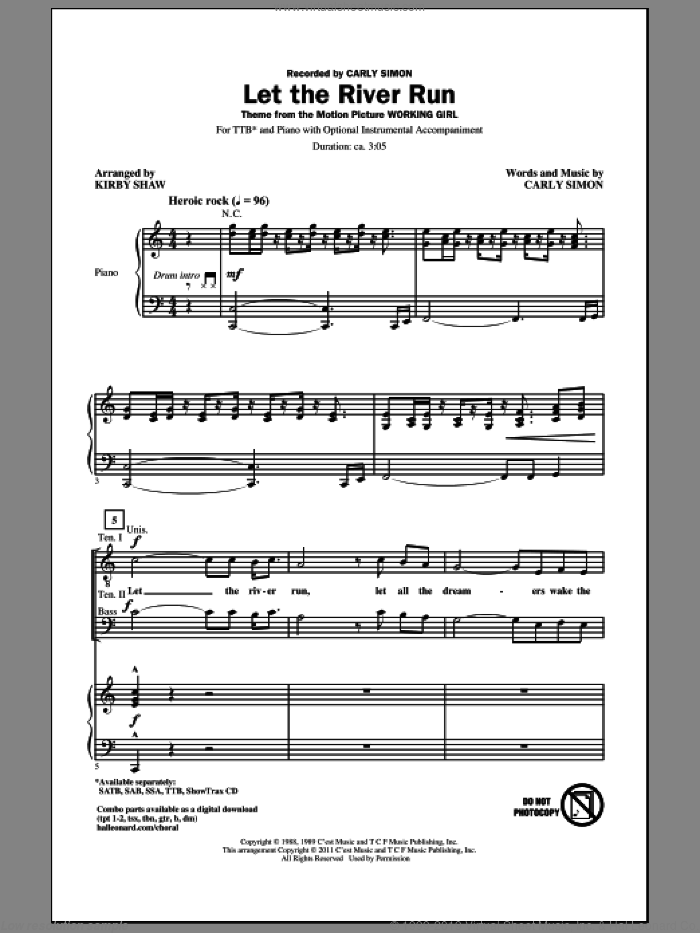 Let The River Run sheet music for choir (tenor voice, bass voice, choir) by Kirby Shaw and Carly Simon. Score Image Preview.