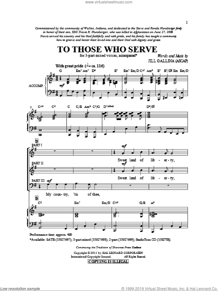 To Those Who Serve sheet music for choir (chamber ensemble) by Jill Gallina. Score Image Preview.