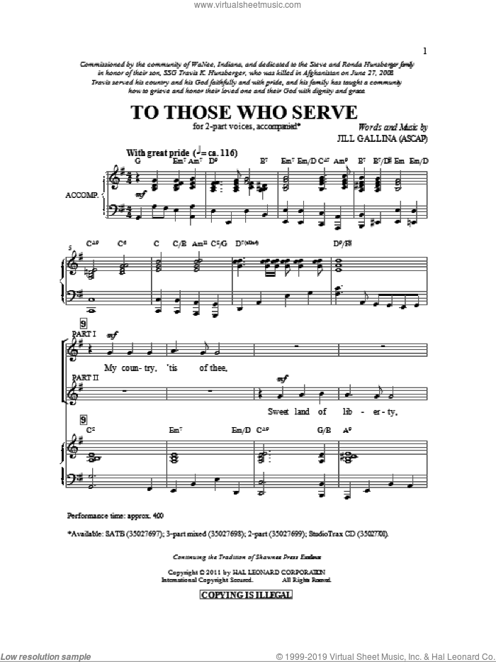 To Those Who Serve sheet music for choir and piano (duets) by Jill Gallina. Score Image Preview.