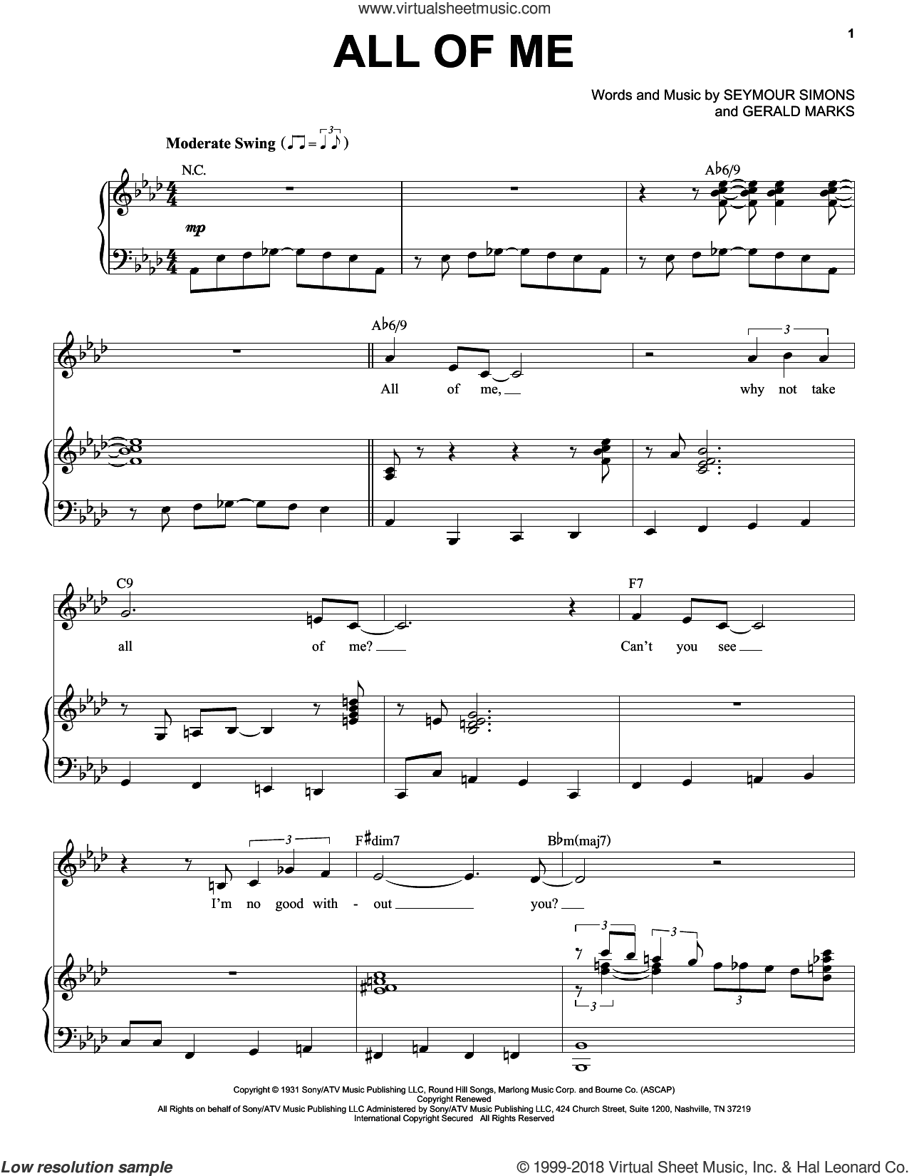 All Of Me sheet music for voice and piano by Frank Sinatra, Gerald Marks and Seymour Simons, intermediate