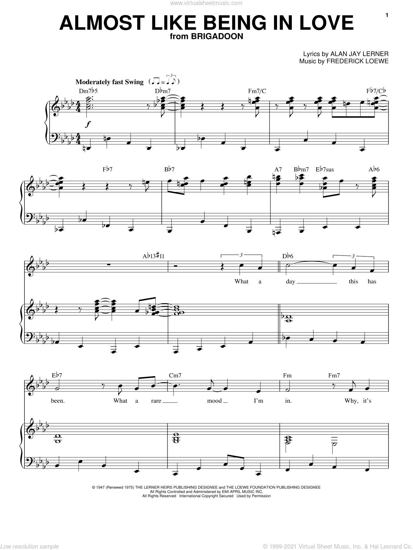 Almost Like Being In Love sheet music for voice and piano by Frank Sinatra, Alan Jay Lerner and Frederick Loewe, intermediate skill level